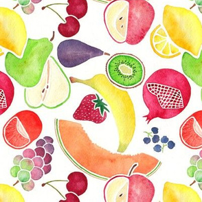 Fruit Medley Watercolor on White Background