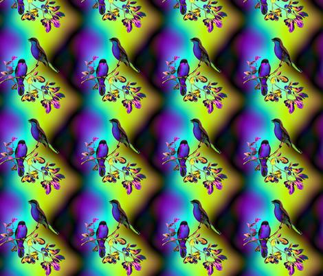 BIRDS ON A GLASS FENCE 2 bird rainbow sky PURPLE BLUE GLOWING SKY fabric by paysmage on Spoonflower - custom fabric