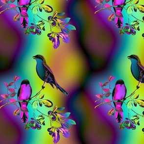 BIRDS ON A GLASS FENCE 1 bird rainbow sky mustard purple aqua GLOWING SKY