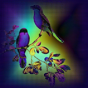 HALFTONE GRID TILES 2 BIRDS ON A GLASS FENCE  purple blue GLOWING SKY