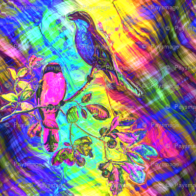 PSYCHEDELIC BIRDS ON FABRIC WAVY PLAID