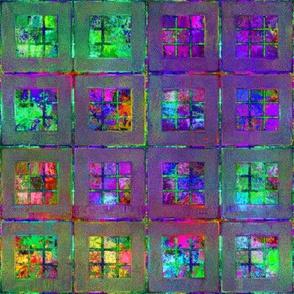 ART GLASS MOSAIC TILES WINDOW MULTICOLOR BRIGHT PURPLE GREEN
