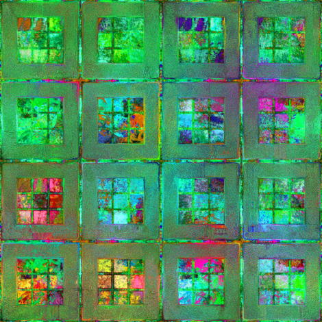 ART GLASS MOSAIC TILES WINDOW MULTICOLOR BRIGHT SUNNY GREEN fabric by paysmage on Spoonflower - custom fabric