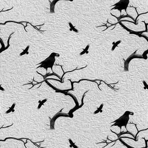 crows on gray - painted