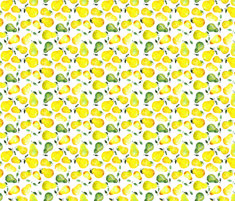 Watercolor pears mini fabric by katerinaizotova on Spoonflower - custom fabric