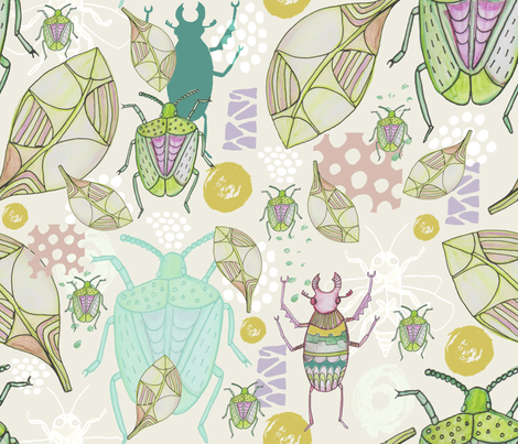 Watercolour Stag Beetles and Shield Bugs fabric by slumbermonkey on Spoonflower - custom fabric