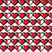 8bit Hearts White Lg