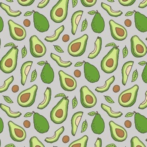 Avocado  Fabric on Grey Smaller