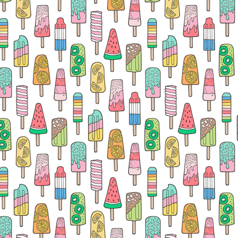 Popsicle Colourful Summer Ice Cream with Fruit and Sprinkles on White Smaller fabric by caja_design on Spoonflower - custom fabric