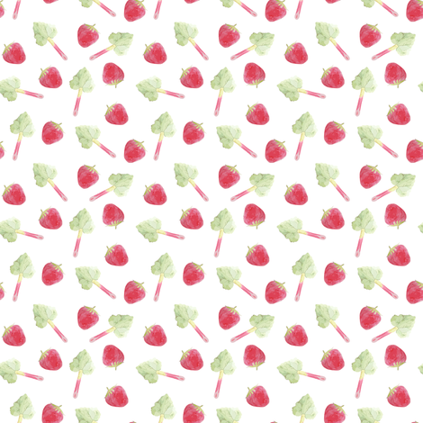 Strawberry and rhubarb are springtime friends fabric by pimento on Spoonflower - custom fabric
