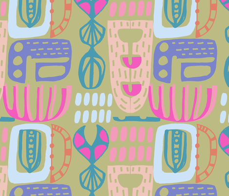 Abstract Totem Mosaic fabric by slumbermonkey on Spoonflower - custom fabric