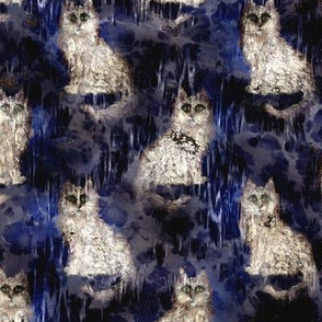 MYSTERIOUS CAT STARRY NIGHT GRUNGE RUSTY