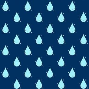 Smiley Raindrop Pattern Blue