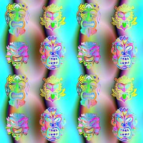 TIKI RAINBOW NEON 3D VOLUME TURQUOISE AQUA  HAWAII POLYNESIAN medium