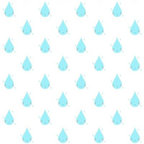 Smiley Raindrop Pattern White