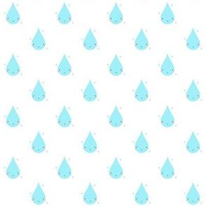 Smiley Raindrop Pattern White