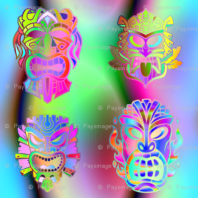 TIKI RAINBOW NEON SPRINGTIME 3D VOLUME SKY BLUE PINK GREEN HAWAII POLYNESIAN medium