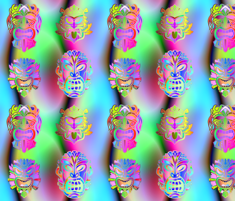 TIKI RAINBOW NEON SPRINGTIME 3D VOLUME SKY BLUE PINK GREEN HAWAII POLYNESIAN medium fabric by paysmage on Spoonflower - custom fabric