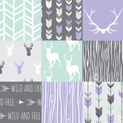 Patchwork Deer - Lilac, Grey and Mint - Wild and Free -