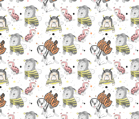 whimsical doggie insects fabric by littlewhimsy on Spoonflower - custom fabric