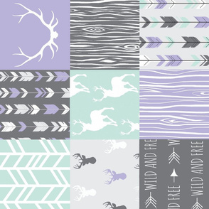 Patchwork Deer- lilac, grey and mint - rotated