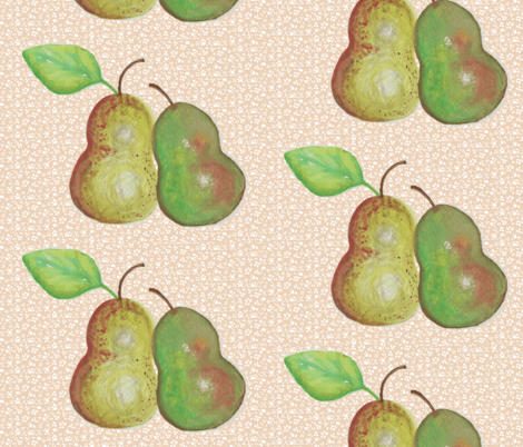 Nestling Pears fabric by vanillabeandesigns on Spoonflower - custom fabric