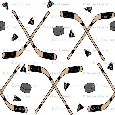 hockey fabric // hockey sticks, hockey puck, ice hockey fabric