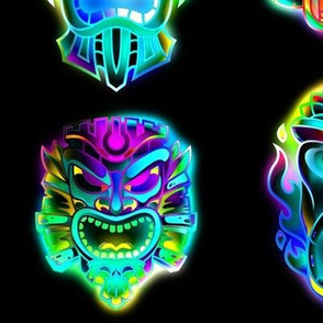 TIKI MASKS NEON GLOW IN THE DARK