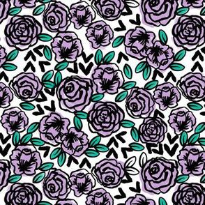 roses fabric // purple roses lilac lavender pastel purple rose design cute florals