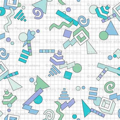 Geekometric* (Blues) || 80s retro geometric math shapes 3d geek nerd graph paper grid Memphis