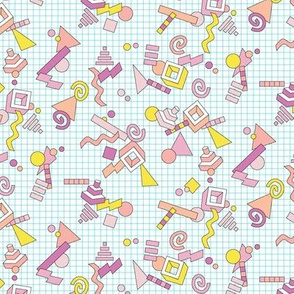 Geekometric* (Pinks on White) || 80s retro geometric math shapes 3d geek nerd graph paper grid Memphis pastel