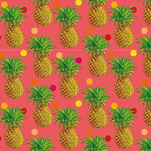 Pineapples and polka dots in coral