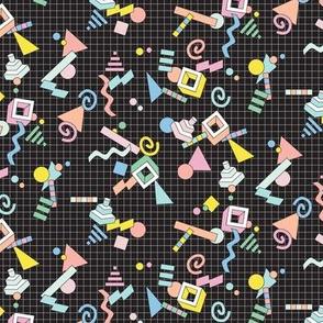 Geekometric* (Black) || 80s retro geometric math shapes 3d geek nerd graph paper grid Memphis pastel