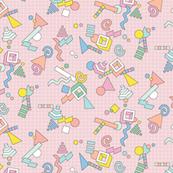 Geekometric* (Capote) || 80s retro geometric math shapes 3d geek nerd graph paper grid Memphis pastel