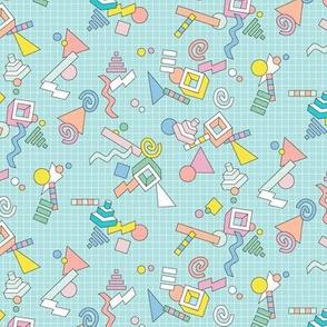 Geekometric* (Polymer) || 80s retro geometric math shapes 3d geek nerd graph paper grid Memphis pastel