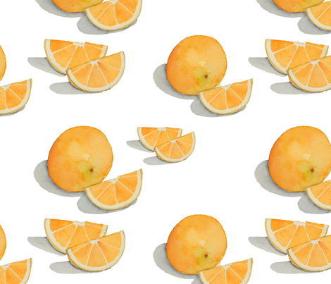 Watercolor Oranges fabric by studiosarcelle on Spoonflower - custom fabric