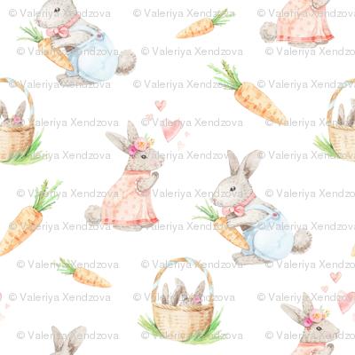 watercolor rabbit family