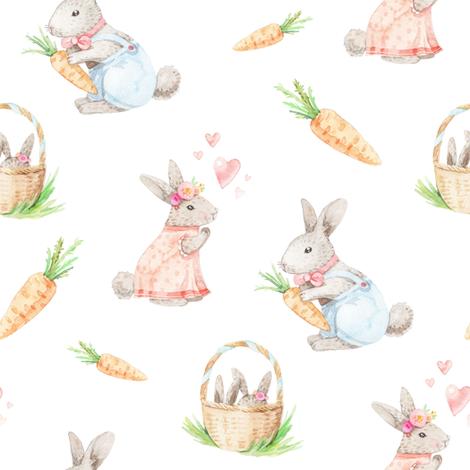 watercolor rabbit family fabric by artn'lera on Spoonflower - custom fabric