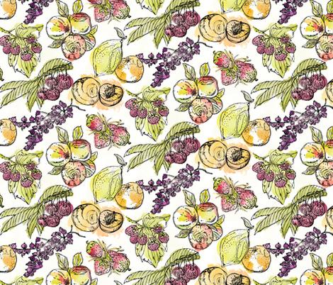 Summer Harvest Watercolour fabric by mottle&daub on Spoonflower - custom fabric