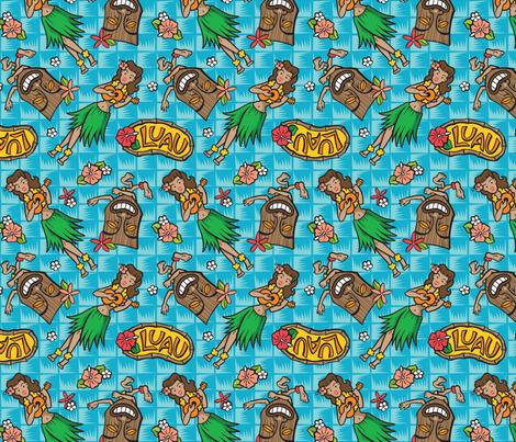 Kitsch Tiki - Luau - Aqua fabric by shannanigan on Spoonflower - custom fabric