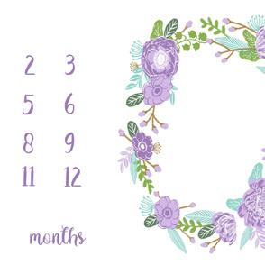 "54"" milestone blanket - purple florals"
