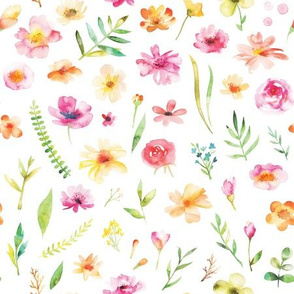 watercolor summer flowers pattern