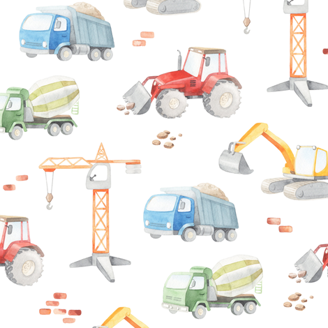 construction watercolor fabric by artn'lera on Spoonflower - custom fabric