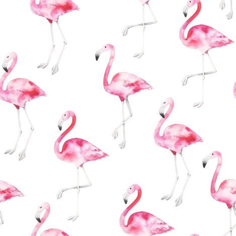 watercolor flamingo  fabric by artn'lera on Spoonflower - custom fabric