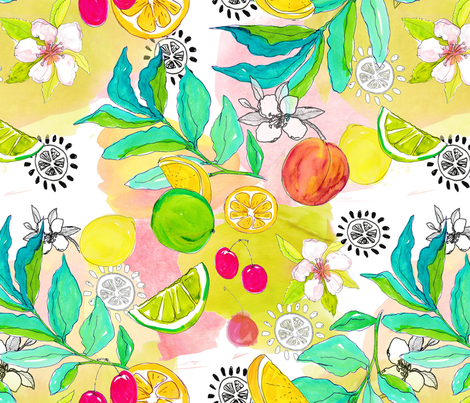 watercolor_fruit_toss fabric by mahoneybee on Spoonflower - custom fabric