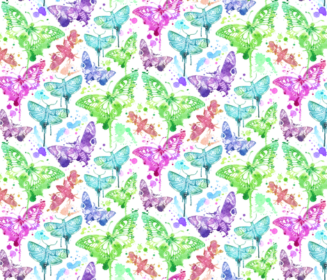 Splatter Drip Moths fabric by xoxotique on Spoonflower - custom fabric