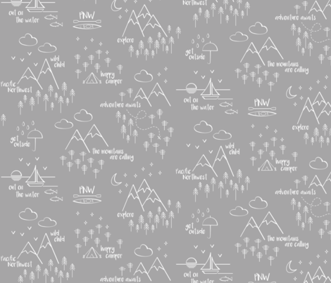 Perfectly PNW - White on Gray fabric by cavutoodesigns on Spoonflower - custom fabric