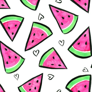 Watercolor Watermelon and Hearts