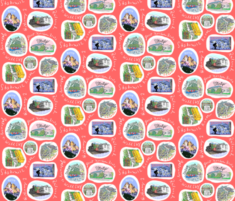 Sky Valley Road Trip Salmon fabric by everette on Spoonflower - custom fabric