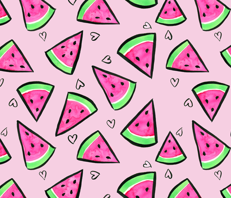 Watercolor Watermelons and Hearts on Pink fabric by taraput on Spoonflower - custom fabric